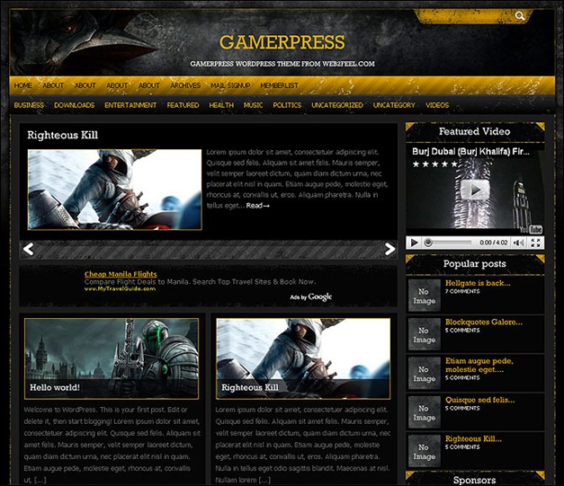 Tema Wordpress Gamerpress